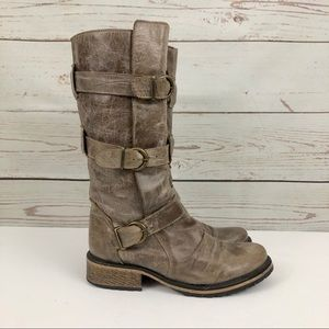 Steve Madden Strappy Leather Bukkie Boots Stone